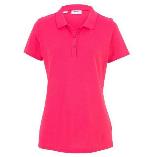 Shirt polo z rękawami 1/2 różowy hibiskus, Bonprix, 40-50
