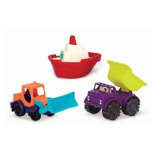 B.Toys Zestaw mini pojazdów do piasku i wody - wywrotka, koparka, łódka