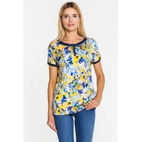 Elegancka bluzka z malowanymi kwiatami - Vito Vergelis, kolor niebieski