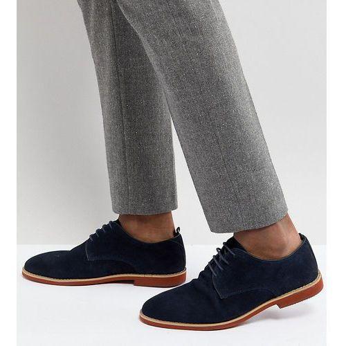 Silver Street Wide Fit Duke Derby Shoes In Navy Suede - Blue