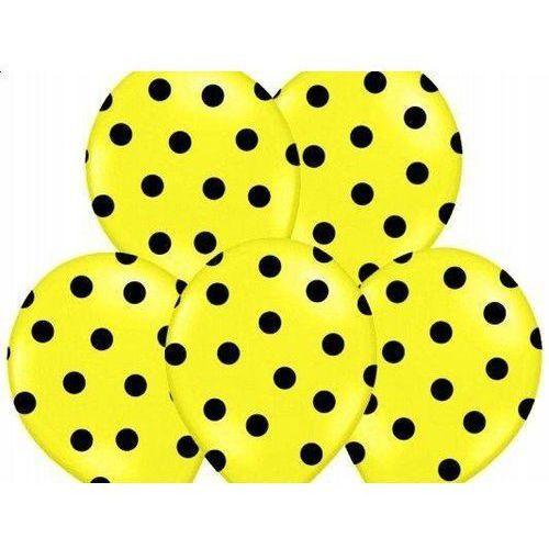 Balony żółte w czarne kropki - 37 cm - 5 szt.