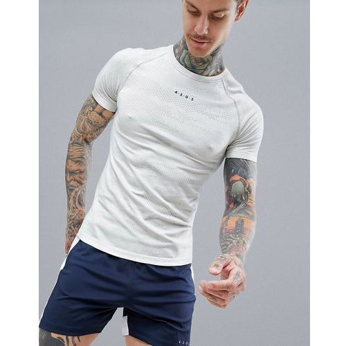 ASOS 4505 Muscle T-Shirt With Camo Jacquard & Seamless Knit - Cream, kolor beżowy