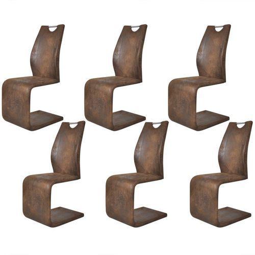 Krzesła wspornikowe, 6 szt., sztuczna skóra, brązowe marki Vidaxl