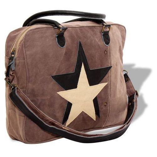 Vidaxl torebka płócienno-skórzana z gwiazdą, brązowa