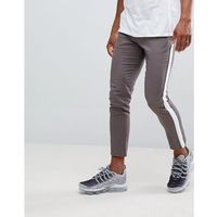 boohooMAN tapered chinos with side stripe in grey - Grey