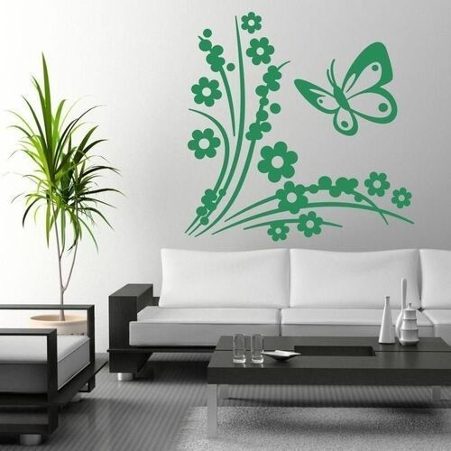 Wally - piękno dekoracji Naklejka kwiatki motyl 1314