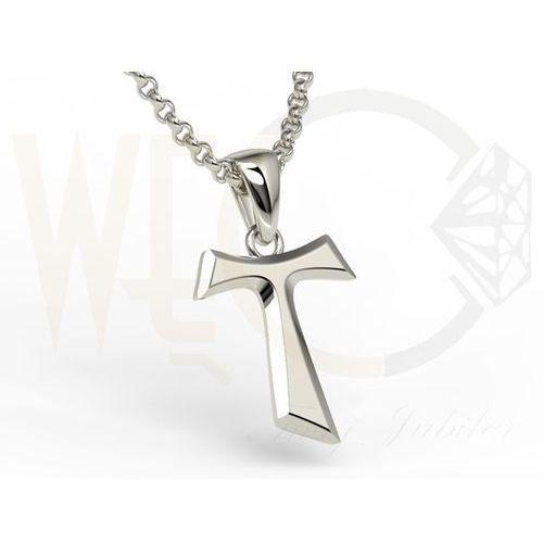 Franciszkański krzyż TAU z białego złota - KR-6B