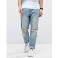 Kiomi Relaxed Fit Jeans with Ripped Knee - Blue