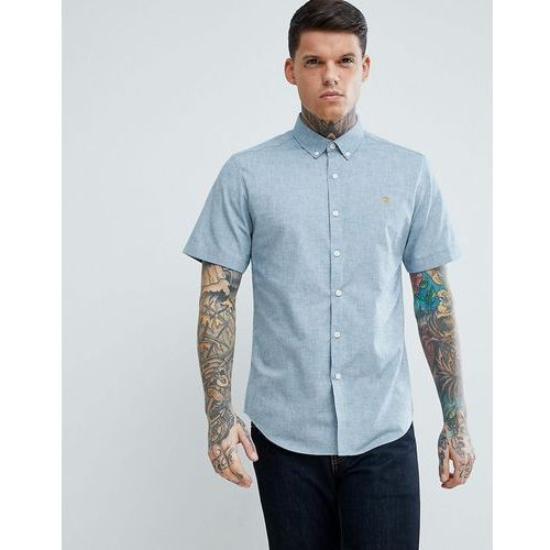 steen slim fit short sleeve textured oxford shirt in grey - grey, Farah, XS-S