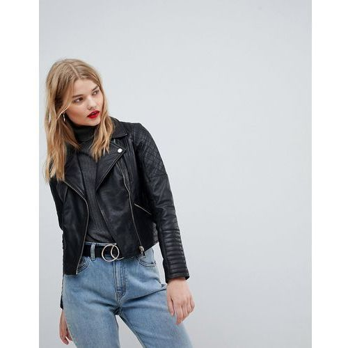 River Island Real Leather Biker Jacket - Black, kolor czarny