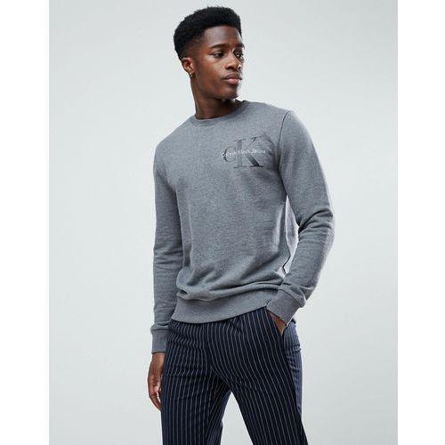 Calvin klein jeans chest logo crew neck sweatshirt in grey - grey