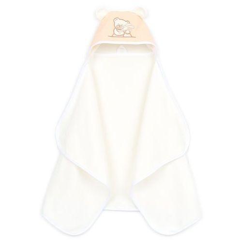MAMO-TATO Okrycie ręcznik kąpielowy z kapturem 70x120 - Brzoskwinia / Ecru
