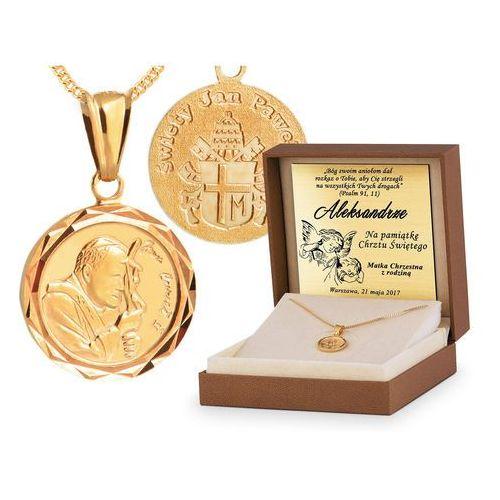 Srebrny komplet 925 łańcuszek z medalikiem YZ102, kolor szary