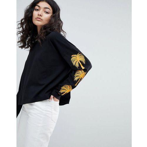 Weekday palm print long sleeve top in black with palm print - Black