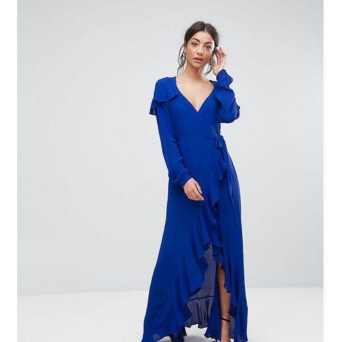 long sleeve wrap maxi tea dress - blue, Asos tall
