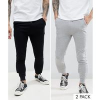 ASOS DESIGN Super Skinny Joggers 2 Pack Black/Grey Marl Save - Multi
