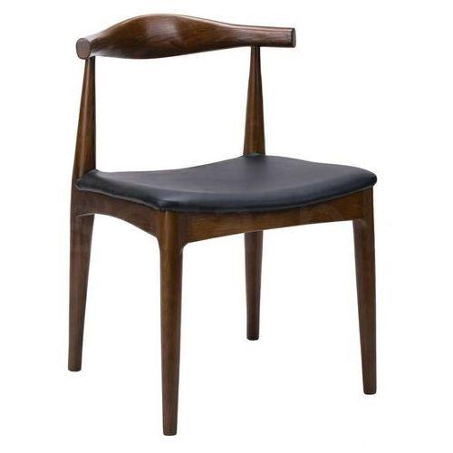 Krzesło ELBOW ciemnobrązowe - drewno jesion, ekoskóra czarna, kolor brązowy