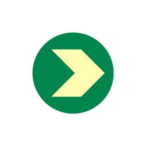 Krążek ewakuacyjny z zaznaczeniem kierunku