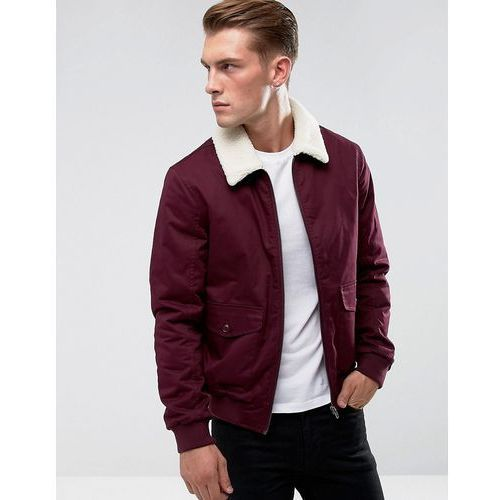 French Connection Checked Lined Harrington Jacket with Borg Collar - Red