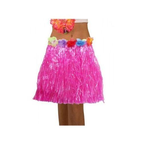 Spódnica hawajska eko różowa 45 cm - przebrania i dodatki dla dorosłych, kolor różowy