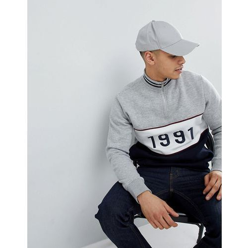 Boohooman funnel neck sweatshirt with 1991 embroidery in grey - grey
