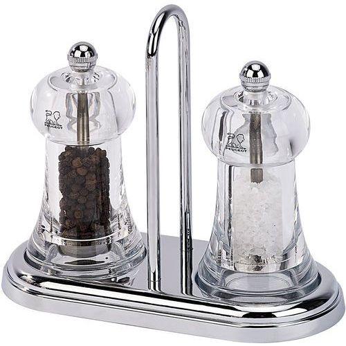 Zestaw młynków manualnych z akrylu do pieprzu i soli z podstawką brasserie pg-19051 marki Peugeot