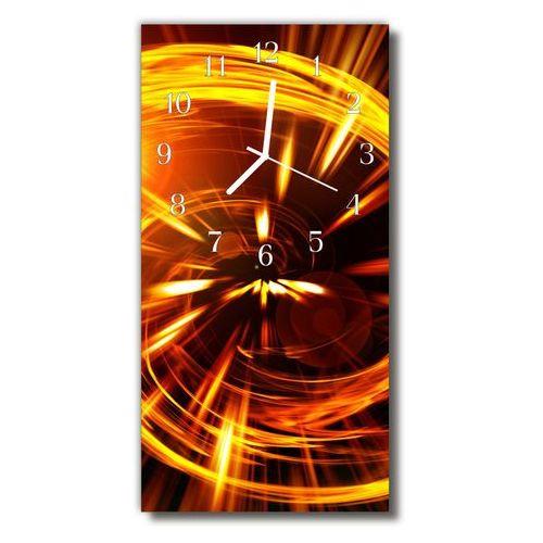 Zegar szklany pionowy linie złote abstrakcja pomarańczowy marki Tulup.pl