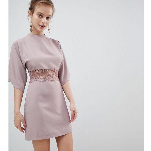 Asos petite kimono mini dress with lace insert - pink