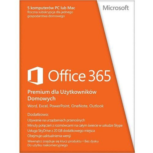 Microsoft  office 365 home premium, pl wersja 32 i 64 bit (0885370509571)