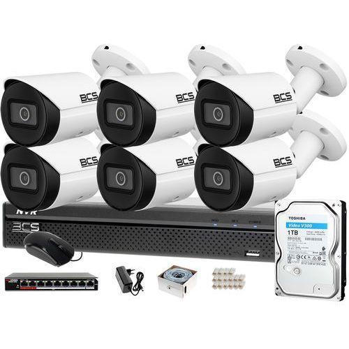 Bcs Monitoring ip samodzielny montaż rejestrator -nvr0801x5me-ii 6x kamera bcs-tip3201ir-e-v 1tb