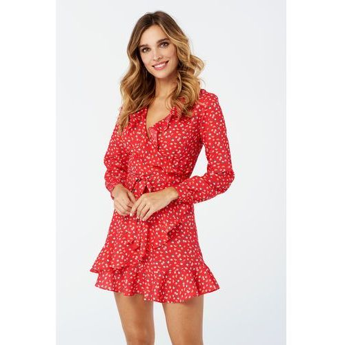 Sukienka Poppy w kolorze czerwonym w kwiaty, kolor czerwony