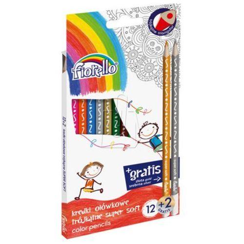 Kredki ołówkowe 12 kolorów trójkątne supermiękkie (5903364258313)