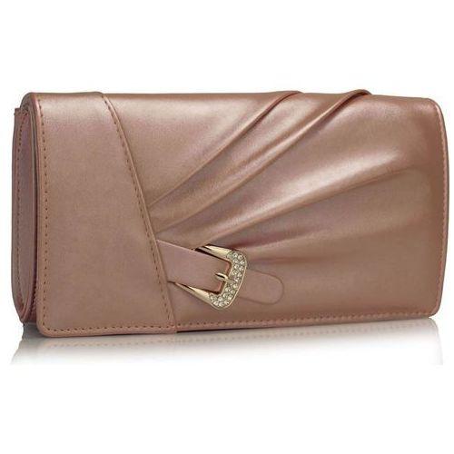 Perłowo-różowa kopertówka torebka wizytowa - różowy marki Wielka brytania