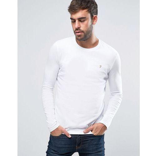 Farah southall super slim fit logo long sleeve t-shirt in white - white