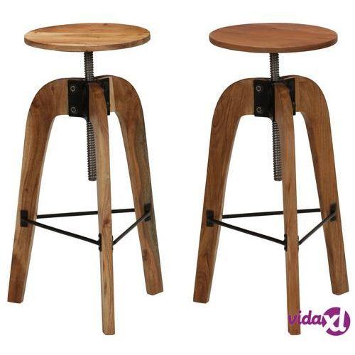 Vidaxl stołki barowe, 2 szt., lite drewno akacjowe, 30 x (58-78) cm