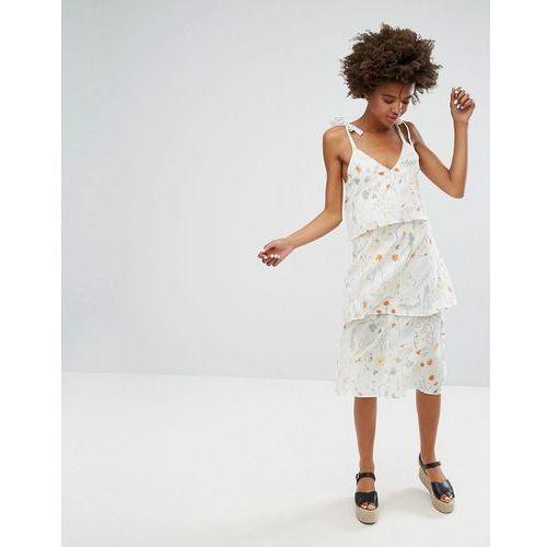 Monki Botanical Floral Layered Midi Dress - White, 1 rozmiar