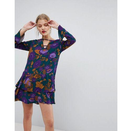 Mango Long Sleeve Frill Hem Dress - Blue, w 3 rozmiarach