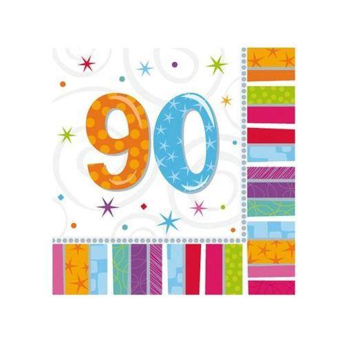 Serwetki urodzinowe na dziewięćdziesiąte urodziny - 90tka - 33 x 33 cm - 16 szt. (0048419712541)