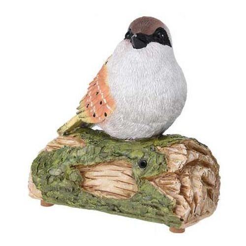 Ozdobny ptak odgrywający melodie, zasilana bateriami ogrodowa figurka dekoracyjna z poliresingu