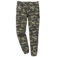 Spodnie bojówki ze stretchem Slim Fit Straight bonprix oliwkowy moro, kolor zielony