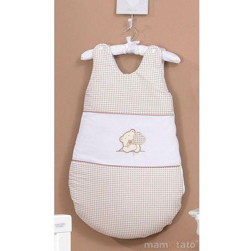 śpiworek haftowany miś z serduszkiem brąz z białym marki Mamo-tato