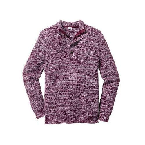 Sweter z plisą guzikową regular fit  czerwony klonowy wzorzysty marki Bonprix