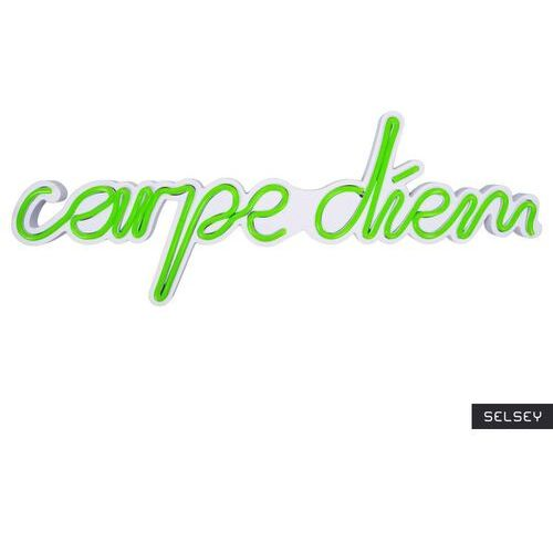 Selsey neon na ścianę letely z napisem carpe diem zielony