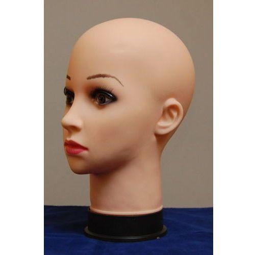 Głowa damska z makijażem, łysa - w kolorze cielistym