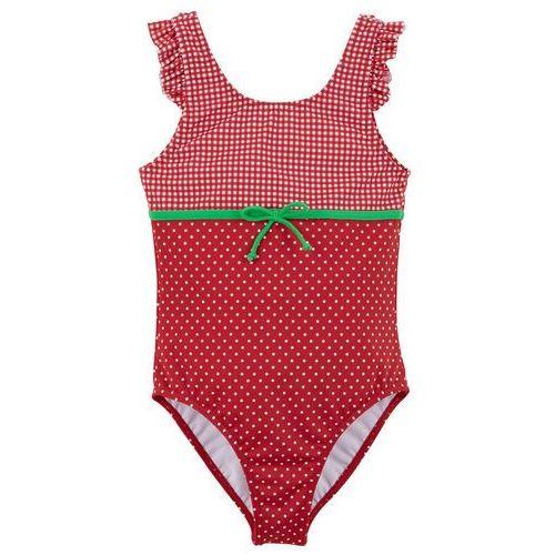 Kostium kąpielowy dziewczęcy bonprix czerwono-biały