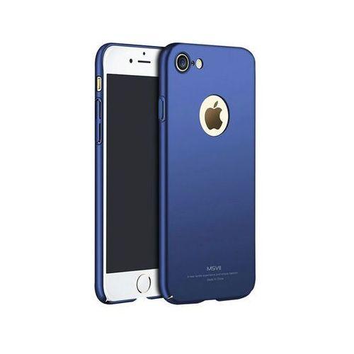 Etui MSVII Thin Case Apple iPhone 7 Granatowe z wycięciem +szkło - Granatowy, kolor niebieski
