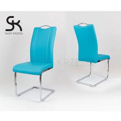 Sk design  ks003 turkusowe krzesło z ekoskóry na stelażu chromowanym - turkusowy