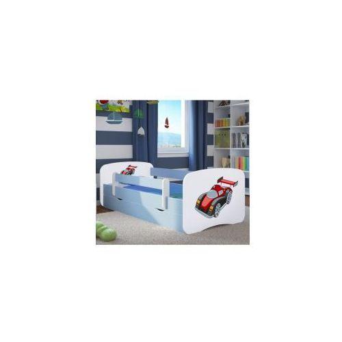 Łóżko dziecięce z materacem AUTO WYŚCIGOWE, biało-niebieskie, 20170626090005