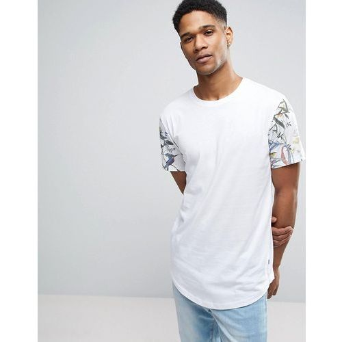 longline t-shirt with curved hem and raglan printed sleeve - white marki Only & sons