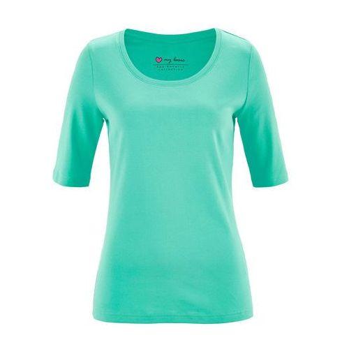 Shirt z okrągłym dekoltem, krótki rękaw bonprix niebieski mentolowy